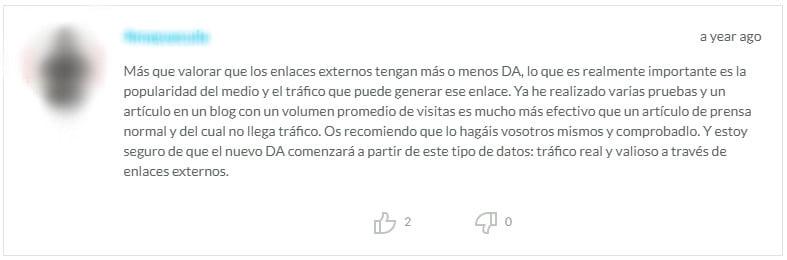 Comentario en español en el blog de Moz