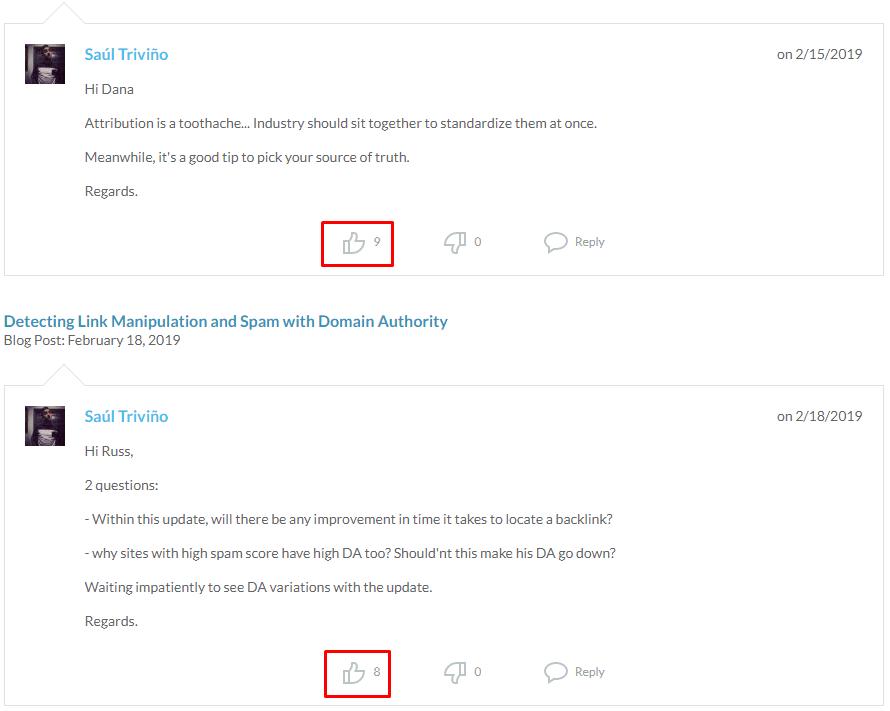 Comentarios en el blog de Moz