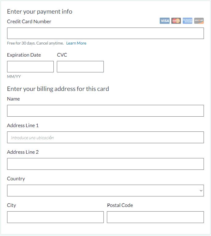 Introducción de la cuenta bancaria para la prueba gratuita de Moz Pro
