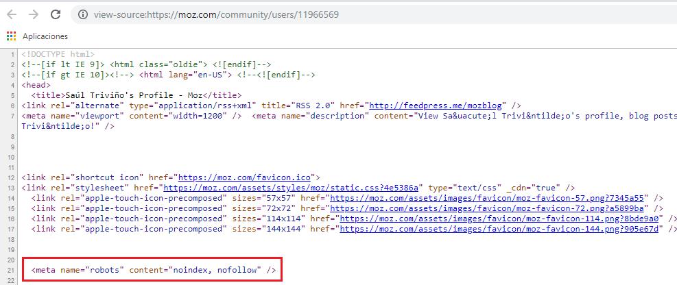 Código fuente del perfil de Moz: noindex, nofollow