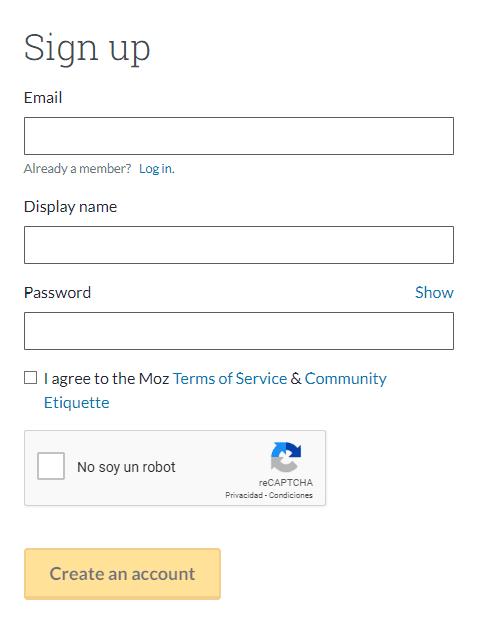 Registro en Moz